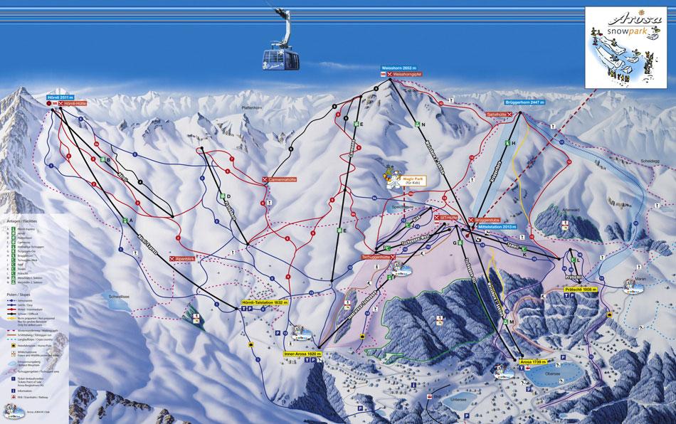 Пример схемы трассы горнолыжного курорта