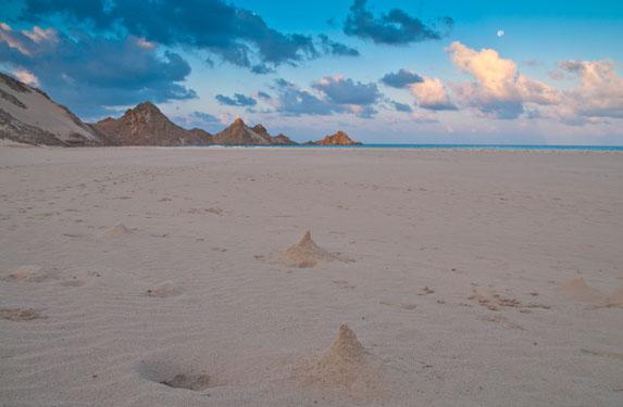 Романтическое путешествие, Сокотра, вечер на белоснежном диком пляже