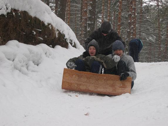 Зима – сочинение на туристскую тематику, катание с горок