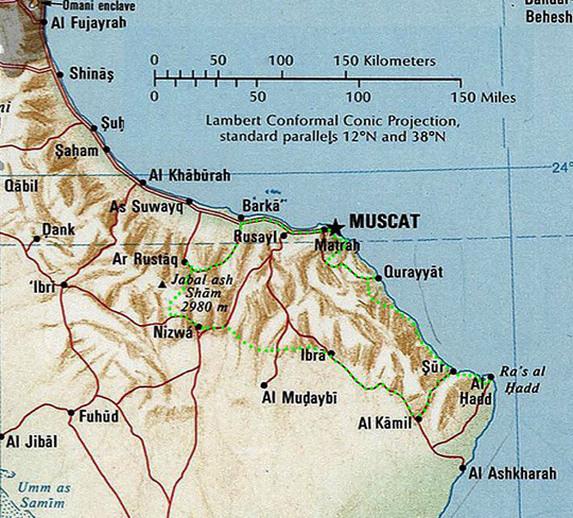 Оман, обзорная карта с маршрутом
