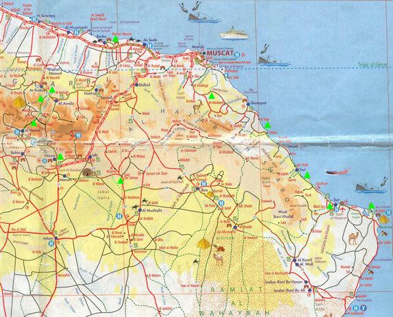 Оман, рабочая карта 1см=10км
