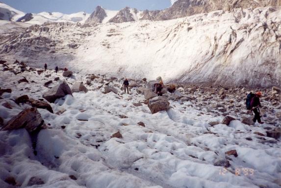 Центральный Кавказ, Движение по леднику в связках.