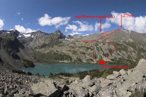 Алтай - 2006, Вид на гору 2754 м и перевал 1А Перевальный
